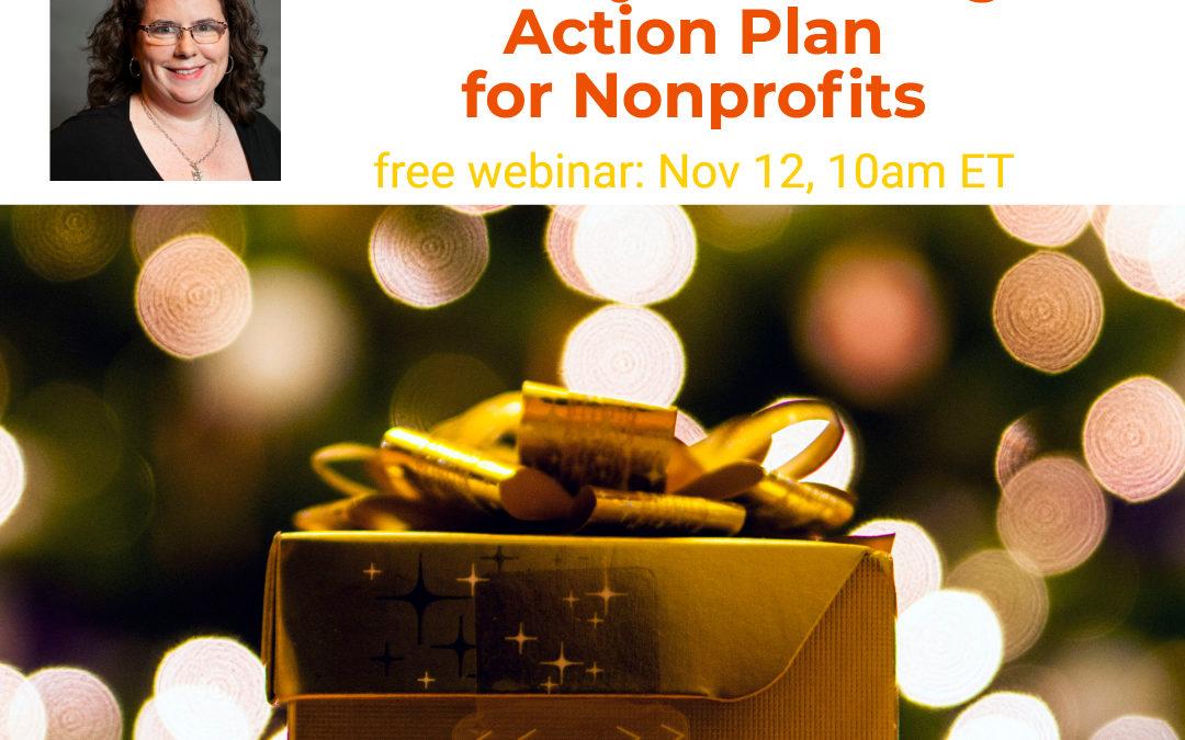 Holiday Marketing Action Plan for Nonprofits webinar promotional image
